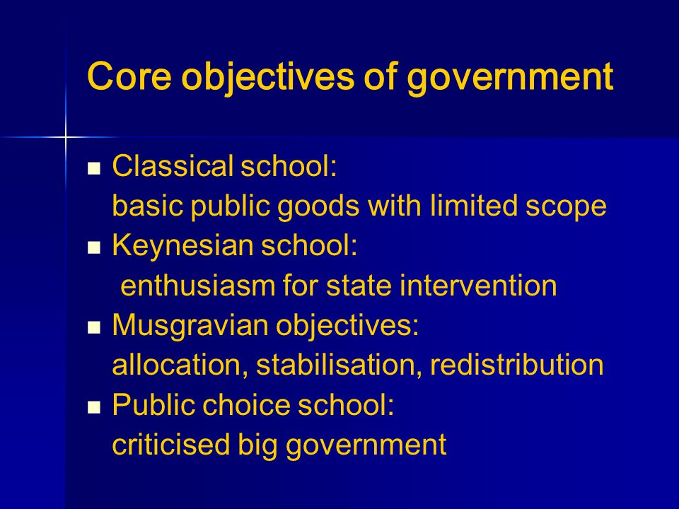 Core objectives of government Classical school: basic public goods with limited scope Keynesian school: enthusiasm for state intervention Musgravian objectives: allocation, stabilisation, redistribution Public choice school: criticised big government