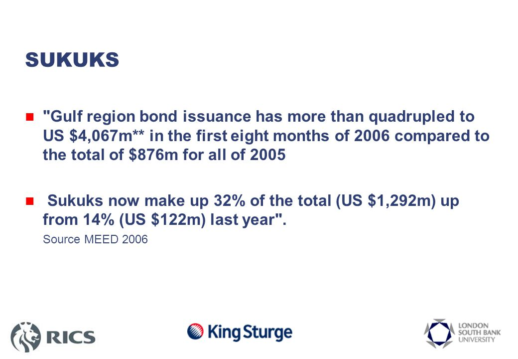 SUKUKS Gulf region bond issuance has more than quadrupled to US $4,067m** in the first eight months of 2006 compared to the total of $876m for all of 2005 Sukuks now make up 32% of the total (US $1,292m) up from 14% (US $122m) last year .