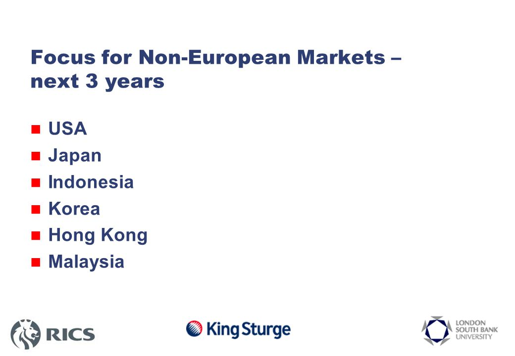 Focus for Non-European Markets – next 3 years USA Japan Indonesia Korea Hong Kong Malaysia