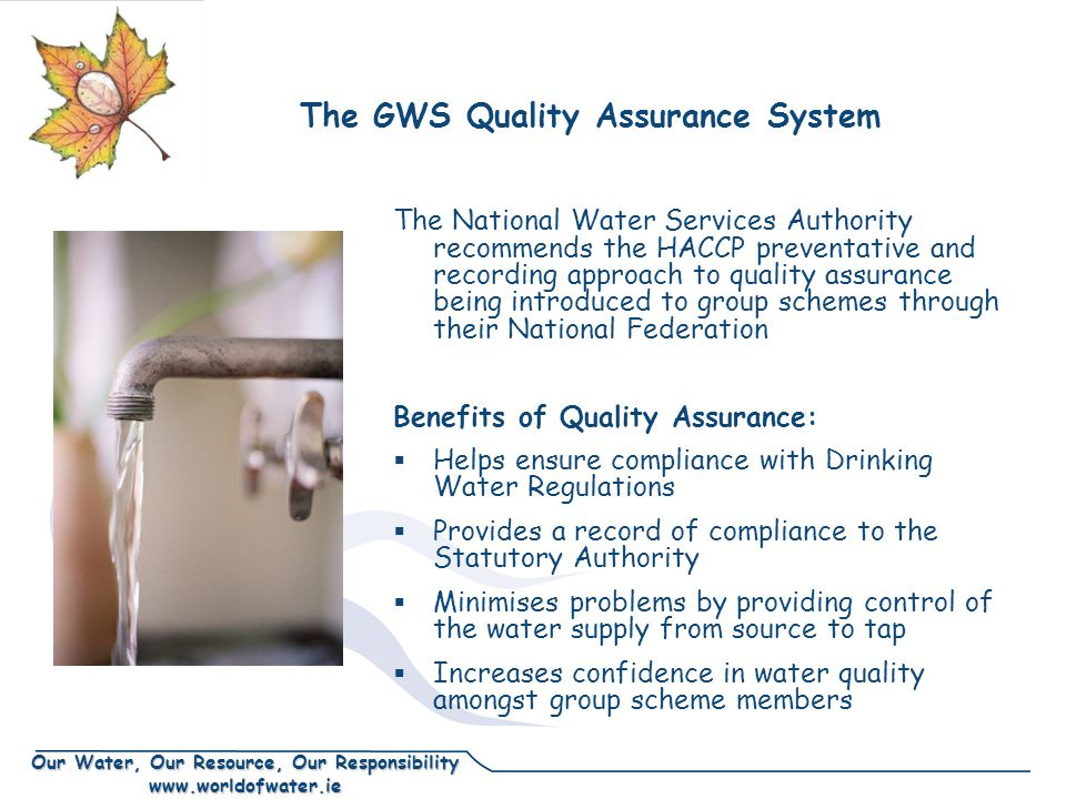 Our Water, Our Resource, Our Responsibility www.worldofwater.ie The GWS Quality Assurance System The National Water Services Authority recommends the