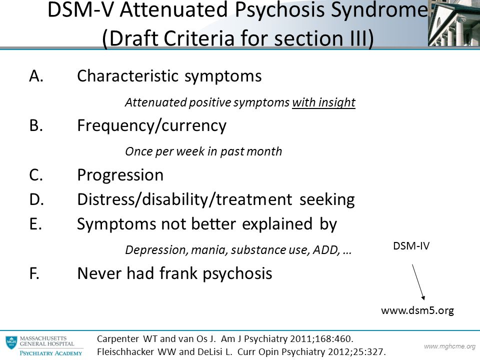 www.mghcme.org DSM-V Attenuated Psychosis Syndrome (Draft Criteria for section III) A.Characteristic symptoms Attenuated positive symptoms with insight B.Frequency/currency Once per week in past month C.Progression D.Distress/disability/treatment seeking E.Symptoms not better explained by Depression, mania, substance use, ADD, … F.Never had frank psychosis www.dsm5.org Carpenter WT and van Os J.