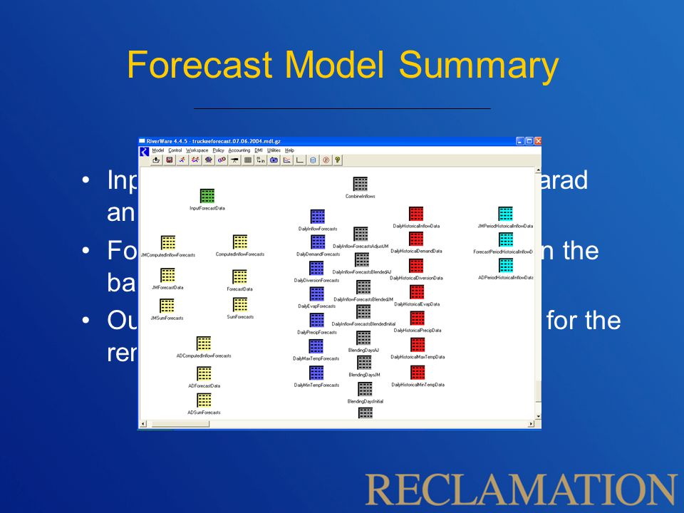 Forecast Model Summary Input is NRCS volume forecasts at Farad and Fort Churchill gages.