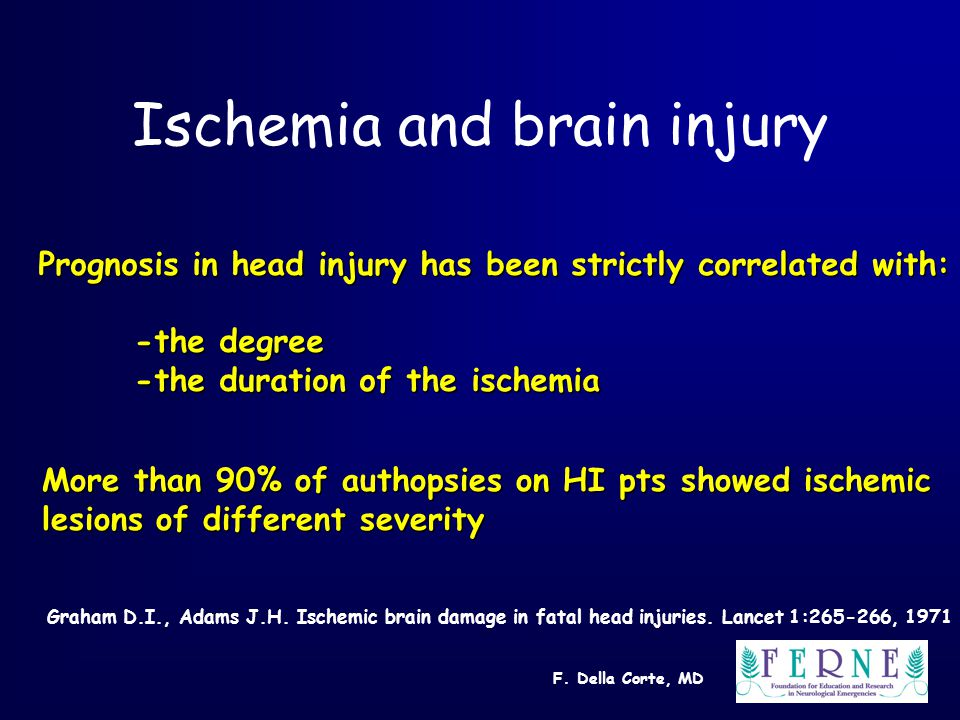 F. Della Corte, MD Ischemia and brain injury Prognosis in head injury has been strictly correlated with: -the degree -the duration of the ischemia Mor