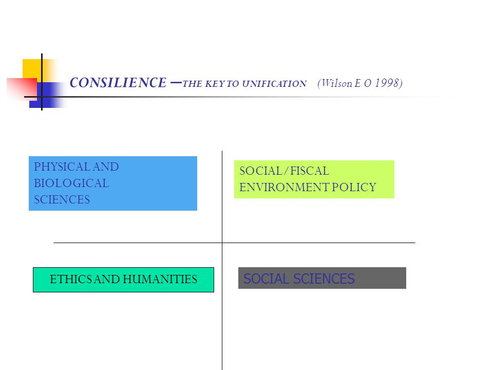 SOCIAL/FISCAL ENVIRONMENT POLICY PHYSICAL AND BIOLOGICAL SCIENCES SOCIAL SCIENCES CONSILIENCE – THE KEY TO UNIFICATION (Wilson E O 1998) ETHICS AND HUMANITIES