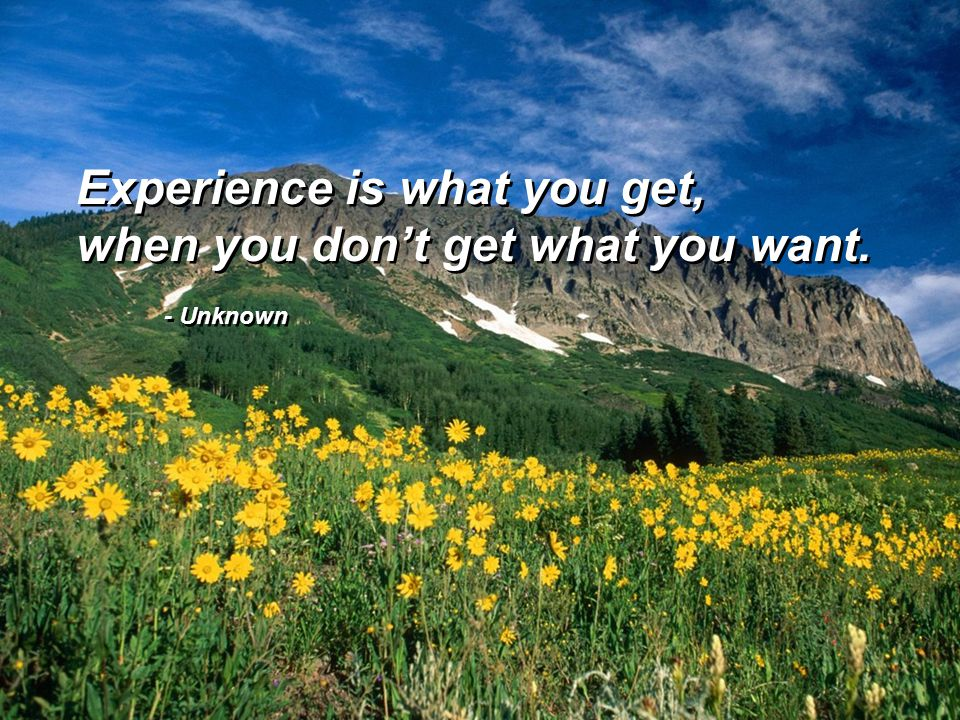 - Unknown Experience is what you get, when you don't get what you want. Experience is what you get, when you don't get what you want.