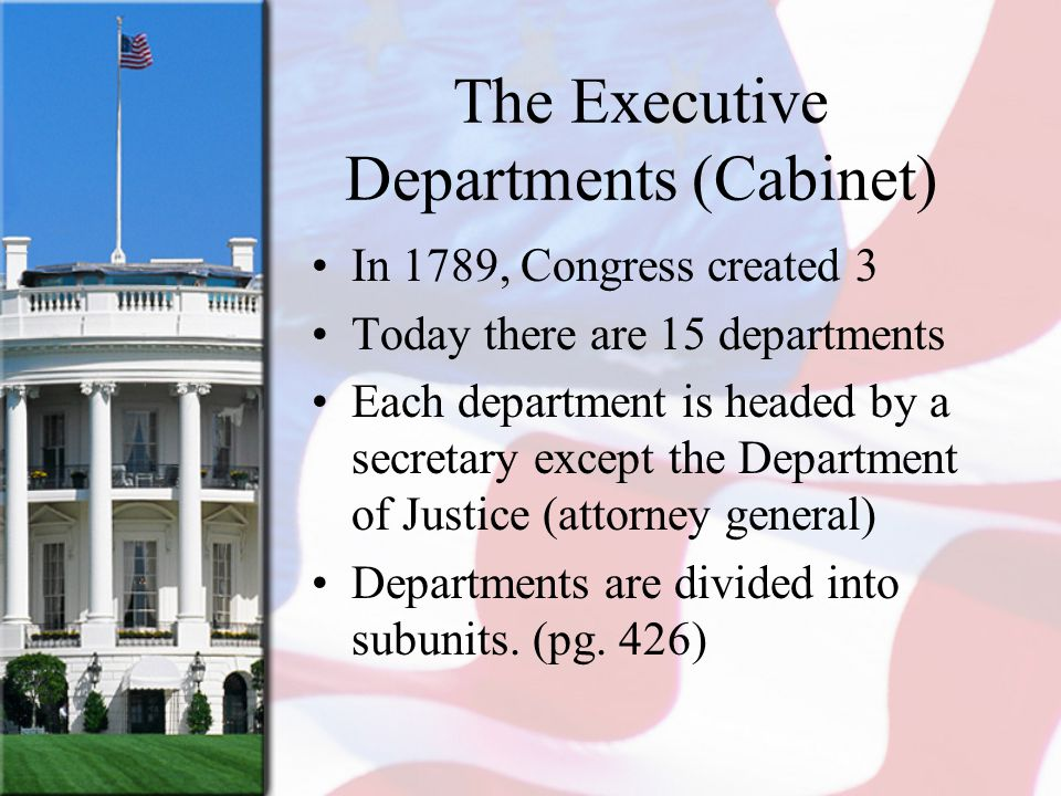 The Executive Departments (Cabinet) In 1789, Congress created 3 Today there are 15 departments Each department is headed by a secretary except the Dep