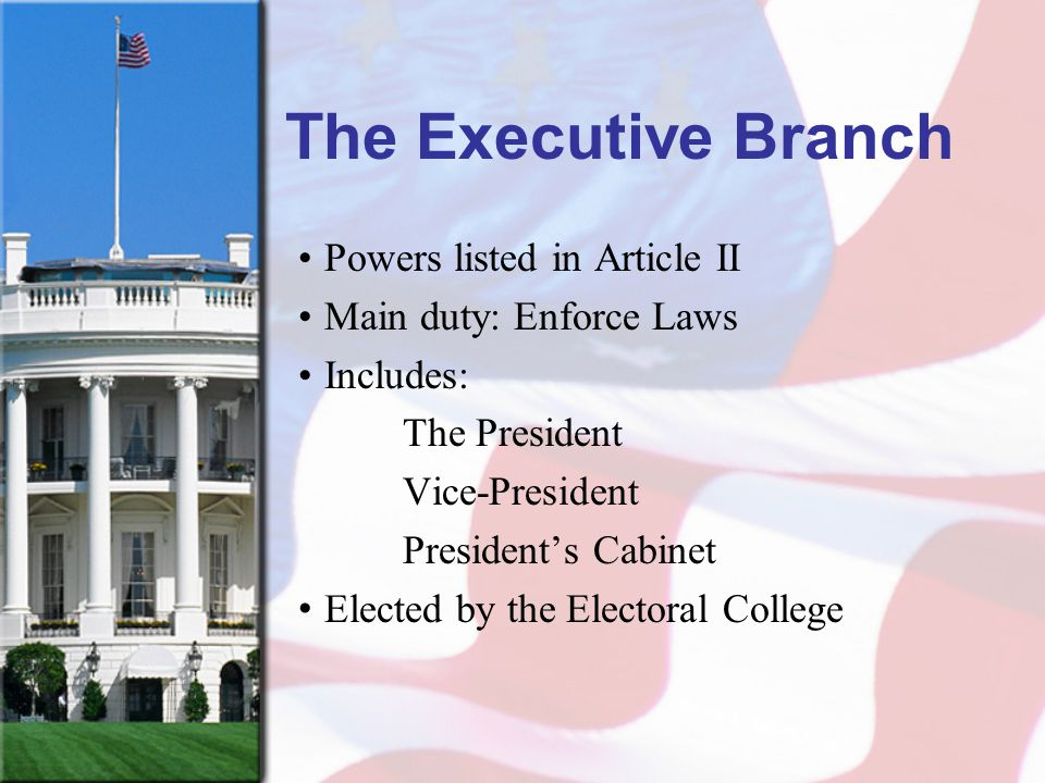 The Executive Branch Powers listed in Article II Main duty: Enforce Laws Includes: The President Vice-President President's Cabinet Elected by the Ele