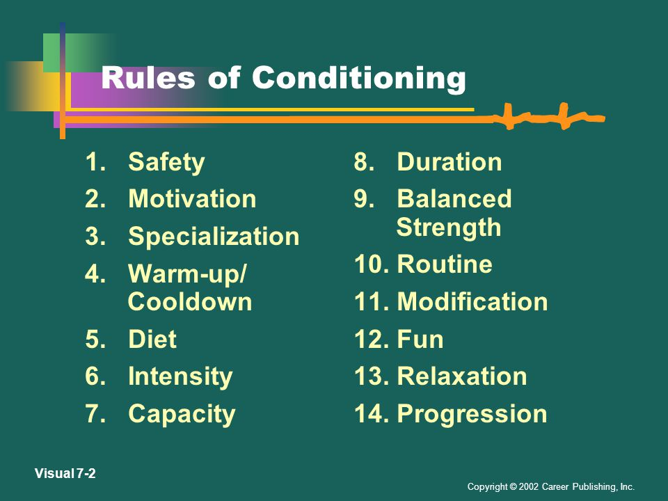 Copyright © 2002 Career Publishing, Inc.Visual 7-2 Rules of Conditioning 1.