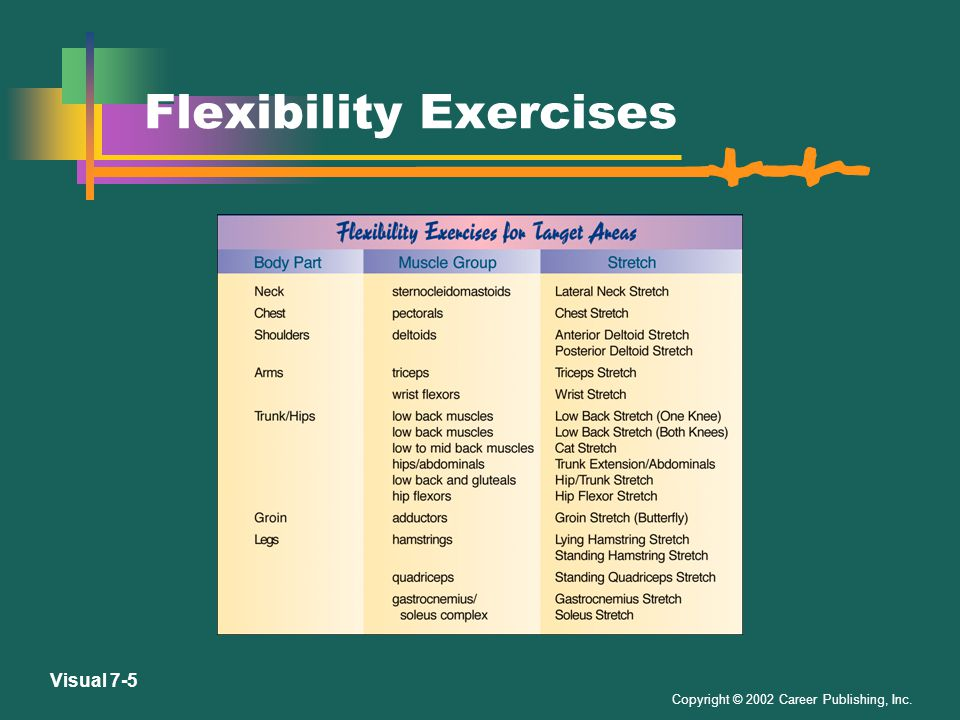 Copyright © 2002 Career Publishing, Inc. Visual 7-4 Safety Guidelines for Weight Training 1.