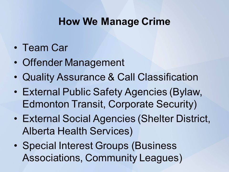 How We Manage Crime Team Car Offender Management Quality Assurance & Call Classification External Public Safety Agencies (Bylaw, Edmonton Transit, Cor
