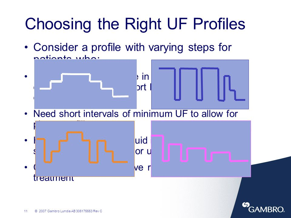 12© 2007 Gambro Lundia AB 306175553 Rev C Case Studies How to select a UF profile for a patient