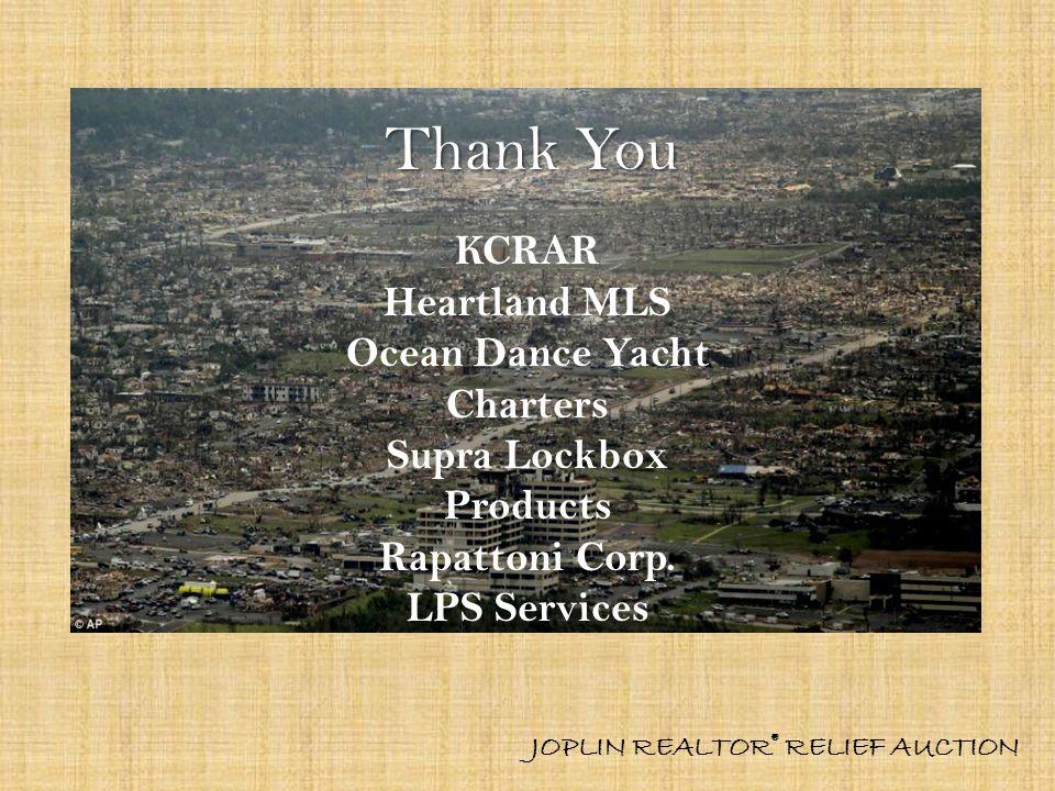 Thank You KCRAR Heartland MLS Ocean Dance Yacht Charters Supra Lockbox Products Rapattoni Corp.