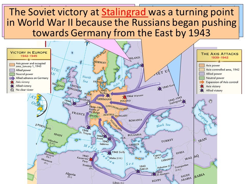 Meanwhile, the Soviet army stopped the German attack at Moscow & Leningrad in 1942 The Soviets defeated the German army at the Battle of Stalingrad The Soviet victory at Stalingrad was a turning point in World War II because the Russians began pushing towards Germany from the East by 1943Stalingrad
