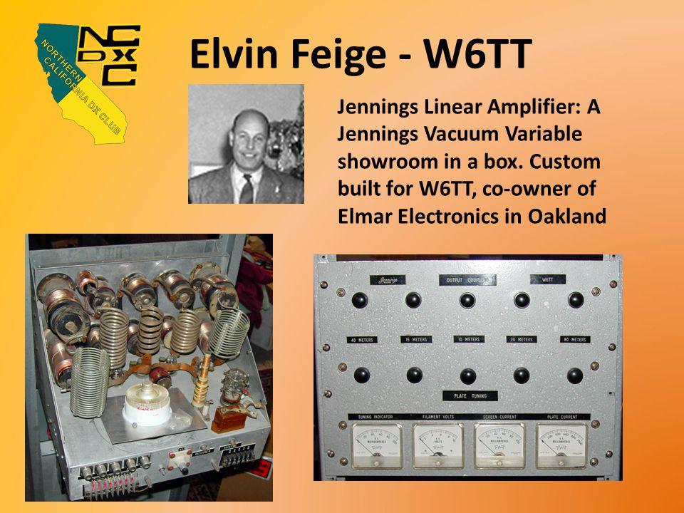 Elvin Feige - W6TT Jennings Linear Amplifier: A Jennings Vacuum Variable showroom in a box.
