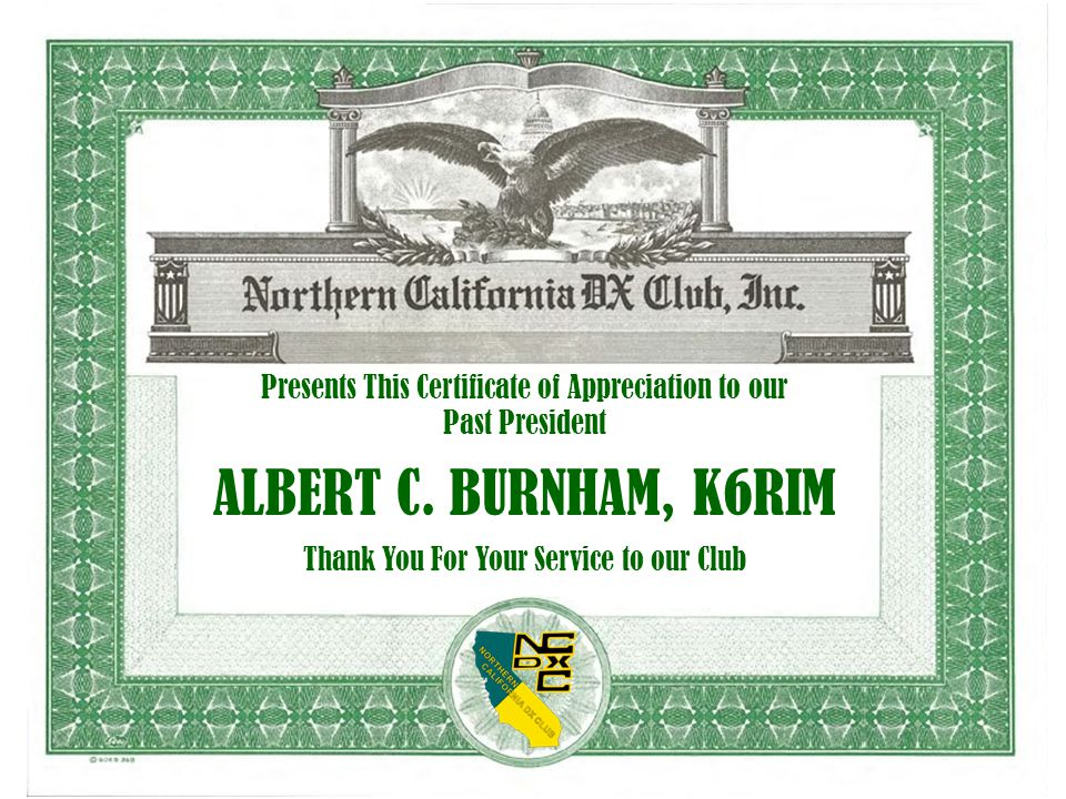 Presents This Certificate of Appreciation to our Past President ALBERT C.