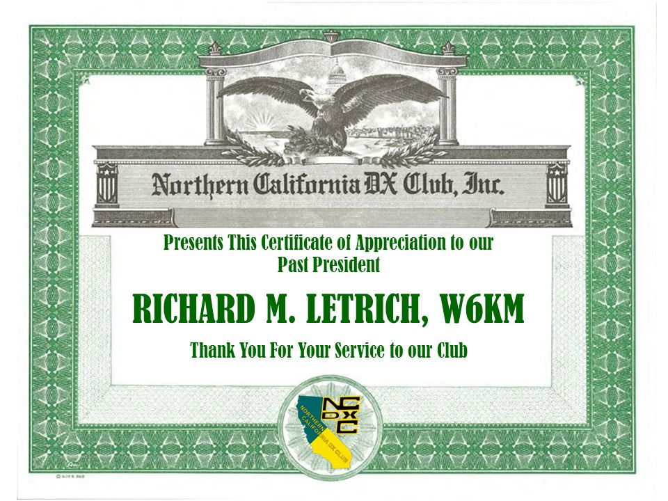 Presents This Certificate of Appreciation to our Past President RICHARD M.