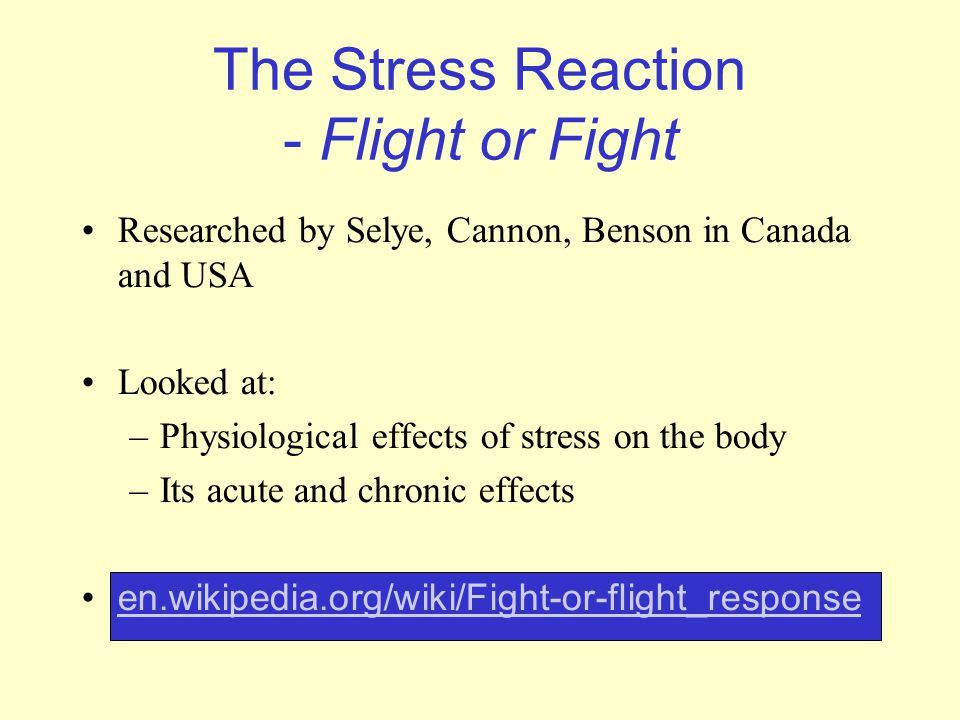 The Stress Reaction - Flight or Fight Researched by Selye, Cannon, Benson in Canada and USA Looked at: –Physiological effects of stress on the body –I