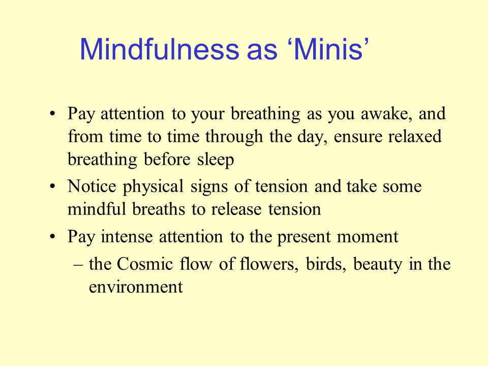 Mindfulness as 'Minis' Pay attention to your breathing as you awake, and from time to time through the day, ensure relaxed breathing before sleep Notice physical signs of tension and take some mindful breaths to release tension Pay intense attention to the present moment –the Cosmic flow of flowers, birds, beauty in the environment