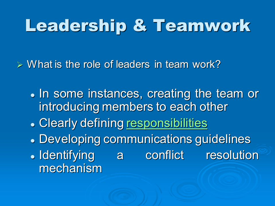  What is the role of leaders in team work.