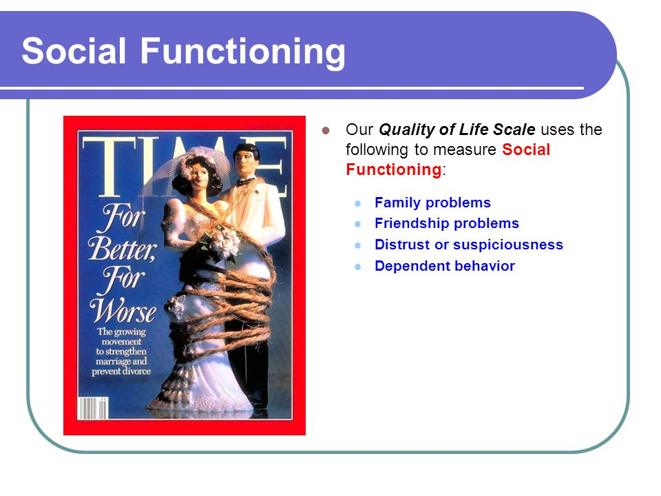 Social Functioning Our Quality of Life Scale uses the following to measure Social Functioning: Family problems Friendship problems Distrust or suspiciousness Dependent behavior