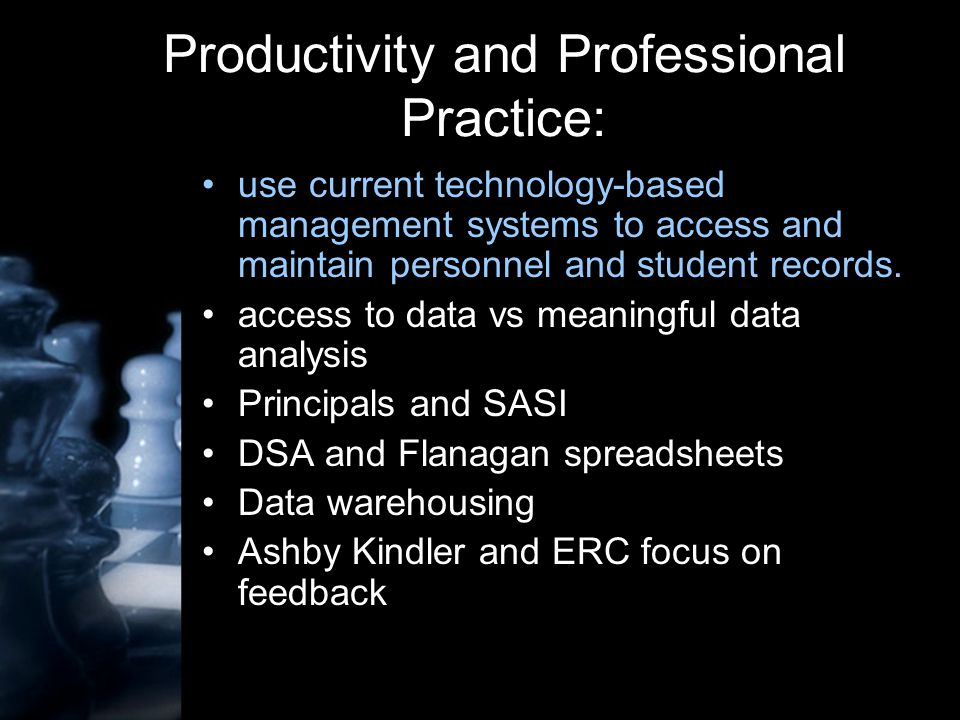 Productivity and Professional Practice: use current technology-based management systems to access and maintain personnel and student records.