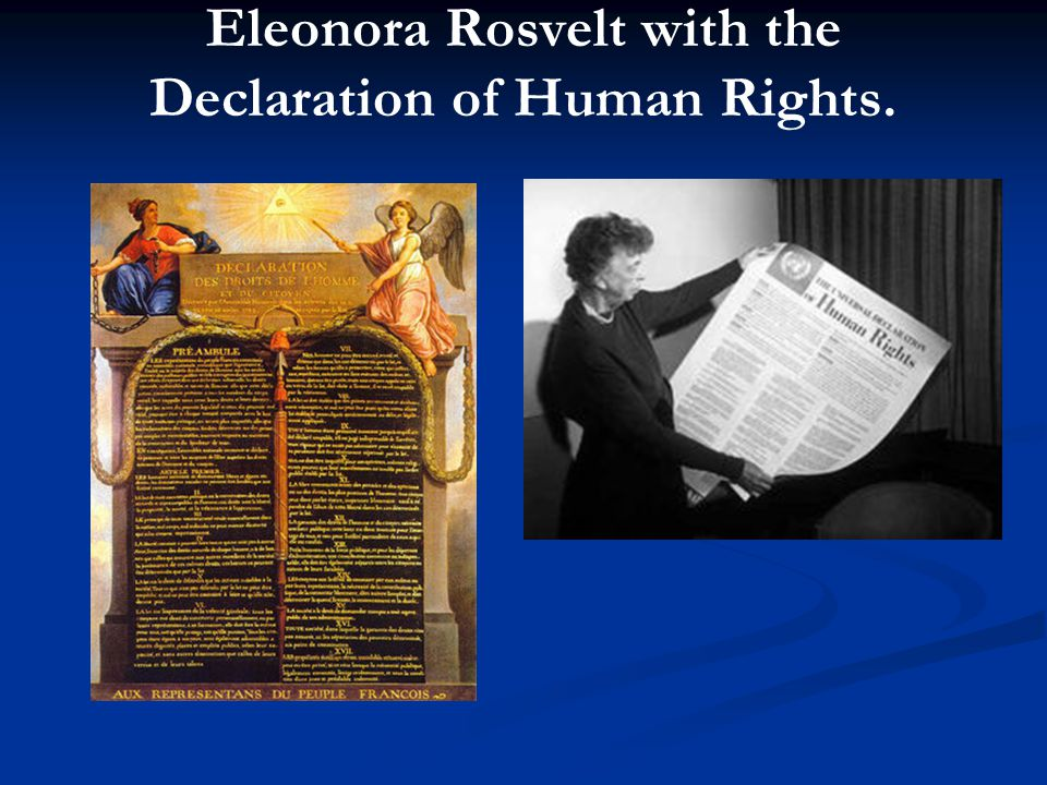 Eleonora Rosvelt with the Declaration of Human Rights.