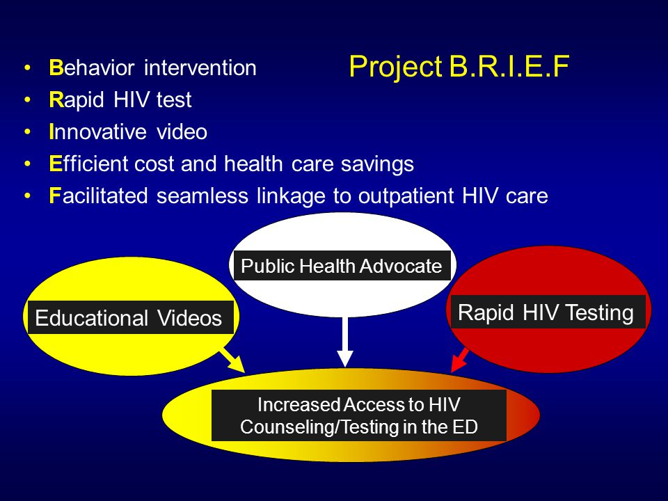 Educational Videos Increased Access to HIV Counseling/Testing in the ED Rapid HIV Testing Public Health Advocate Project B.R.I.E.F Behavior intervention Rapid HIV test Innovative video Efficient cost and health care savings Facilitated seamless linkage to outpatient HIV care
