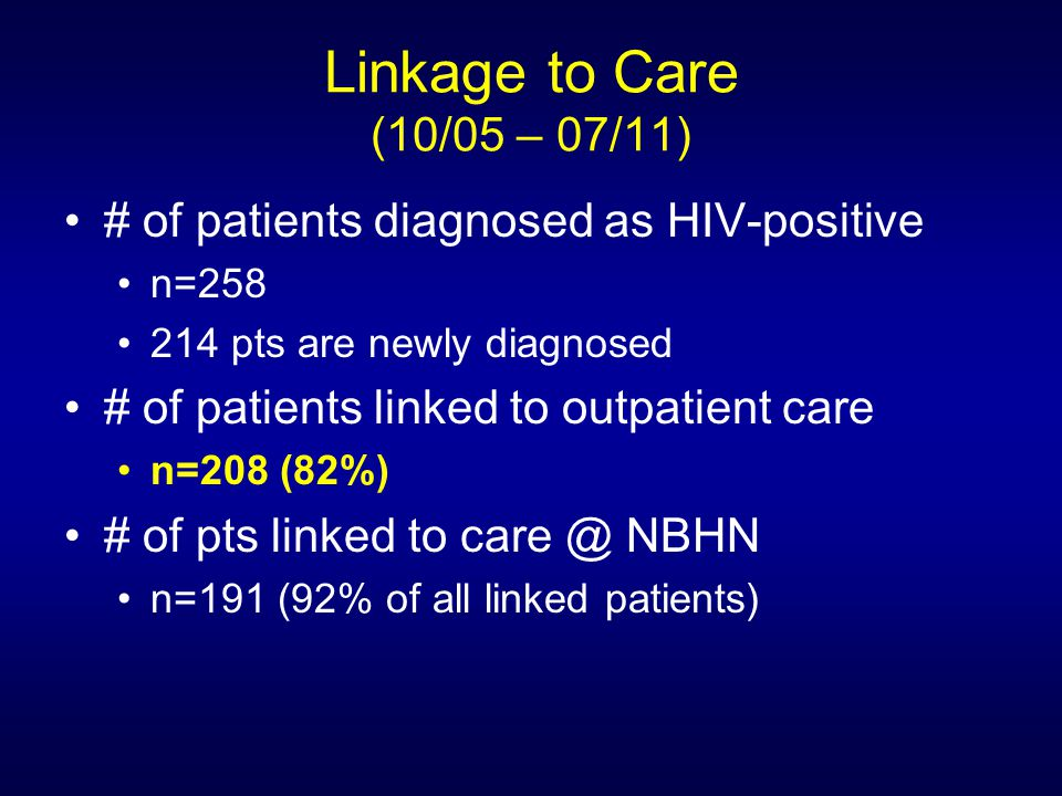 Linkage to Care (10/05 – 07/11) # of patients diagnosed as HIV-positive n=258 214 pts are newly diagnosed # of patients linked to outpatient care n=208 (82%) # of pts linked to care @ NBHN n=191 (92% of all linked patients)