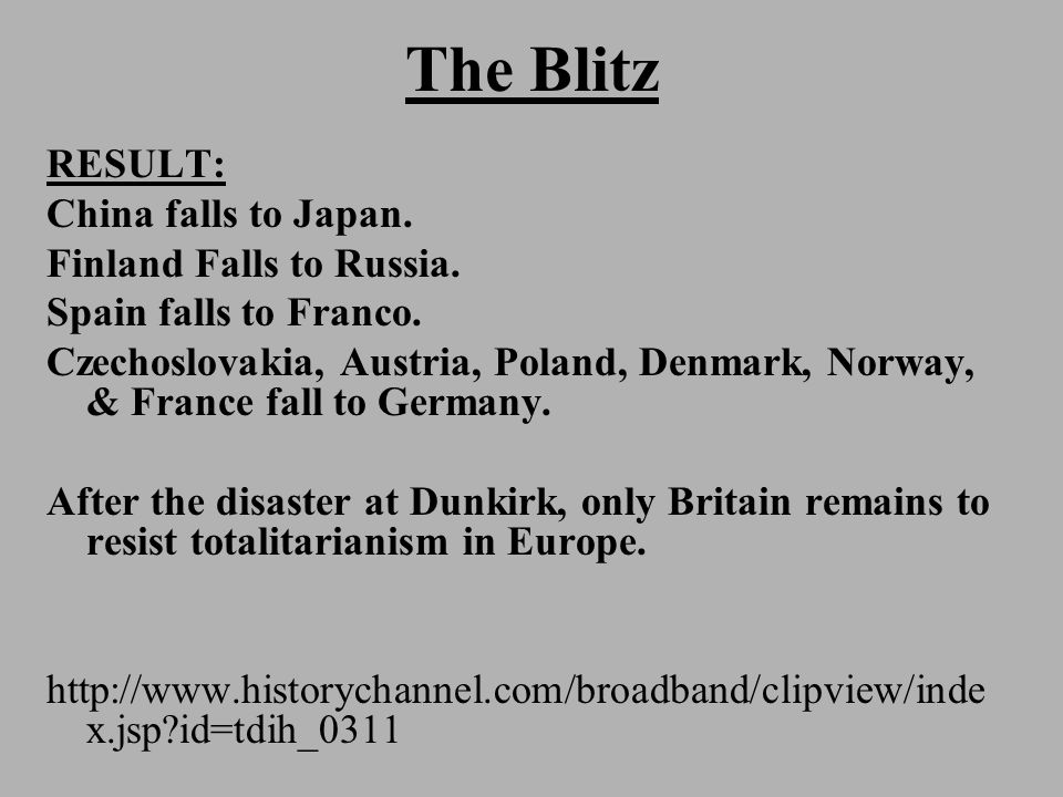 The Blitz RESULT: China falls to Japan. Finland Falls to Russia.