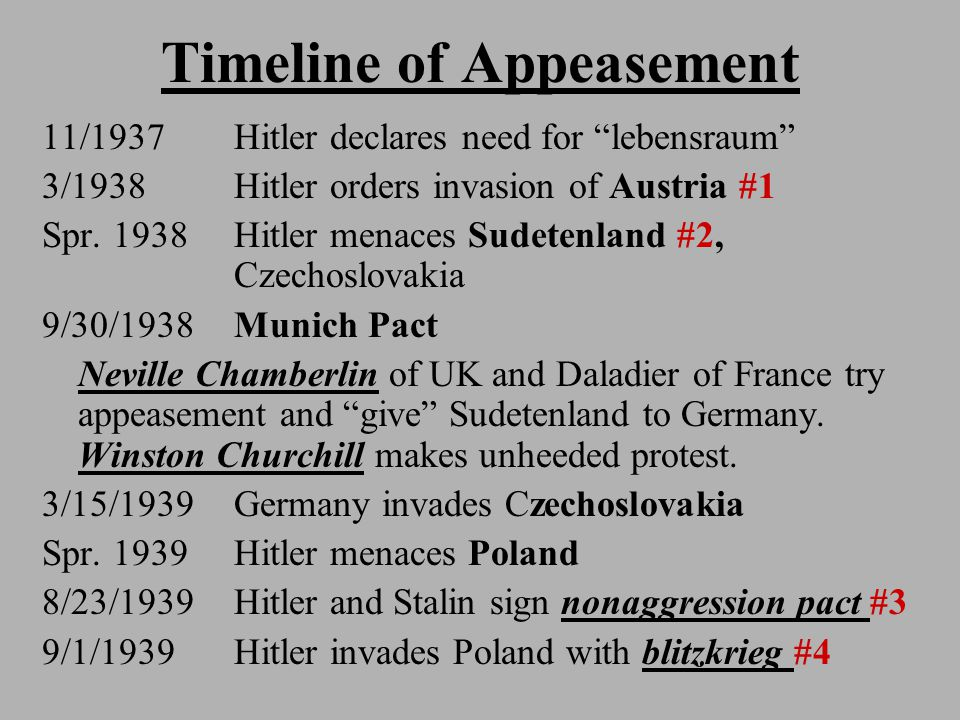"Timeline of Appeasement 11/1937 Hitler declares need for ""lebensraum"" 3/1938 Hitler orders invasion of Austria #1 Spr. 1938 Hitler menaces Sudetenland"
