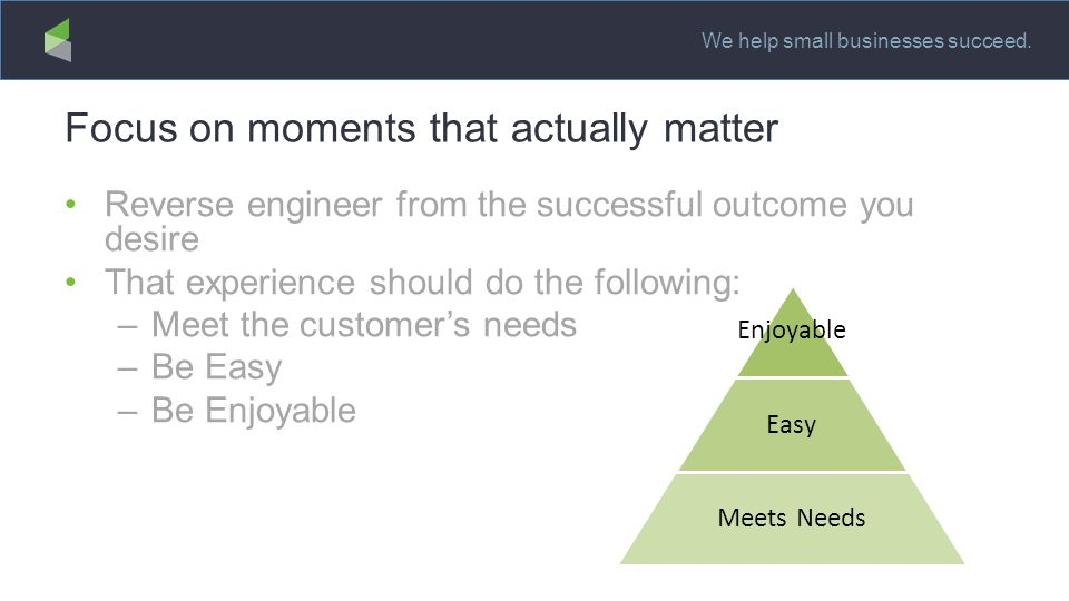 We help small businesses succeed. Focus on moments that actually matter Reverse engineer from the successful outcome you desire That experience should