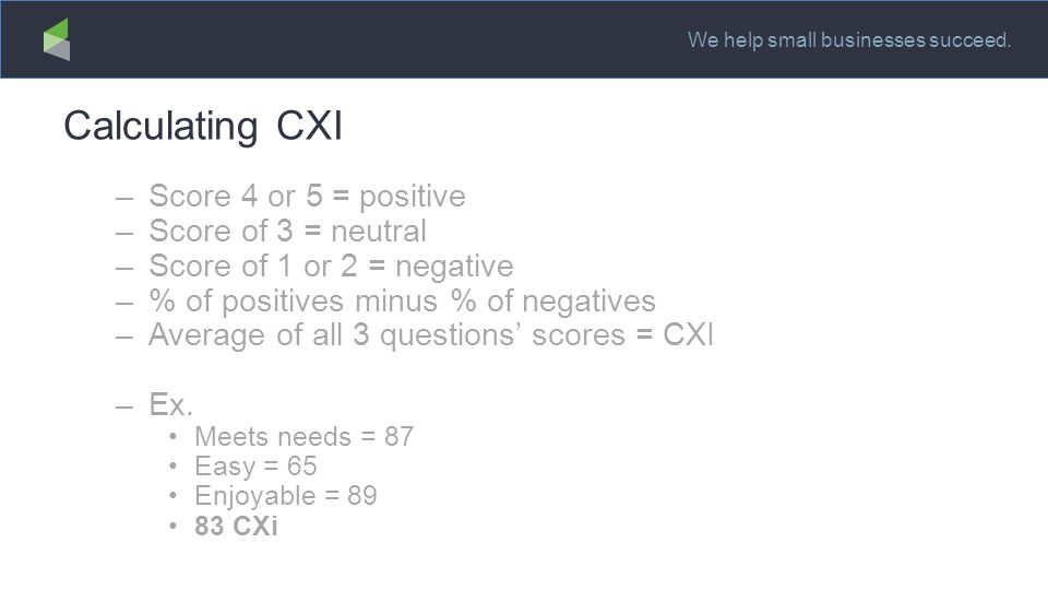 We help small businesses succeed. Calculating CXI –Score 4 or 5 = positive –Score of 3 = neutral –Score of 1 or 2 = negative –% of positives minus % o