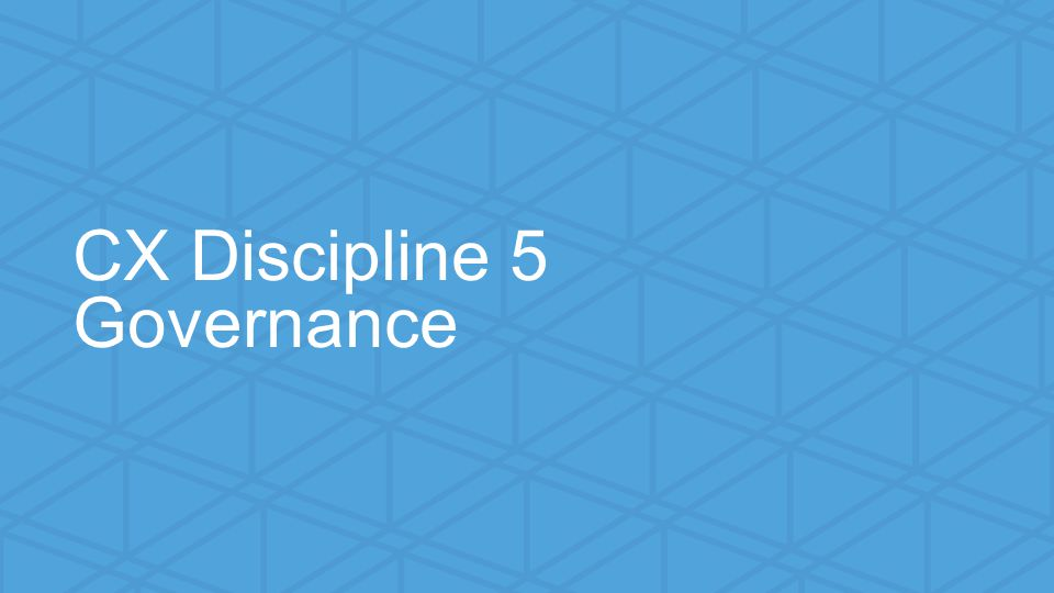 We help small businesses succeed. CX Discipline 5 Governance