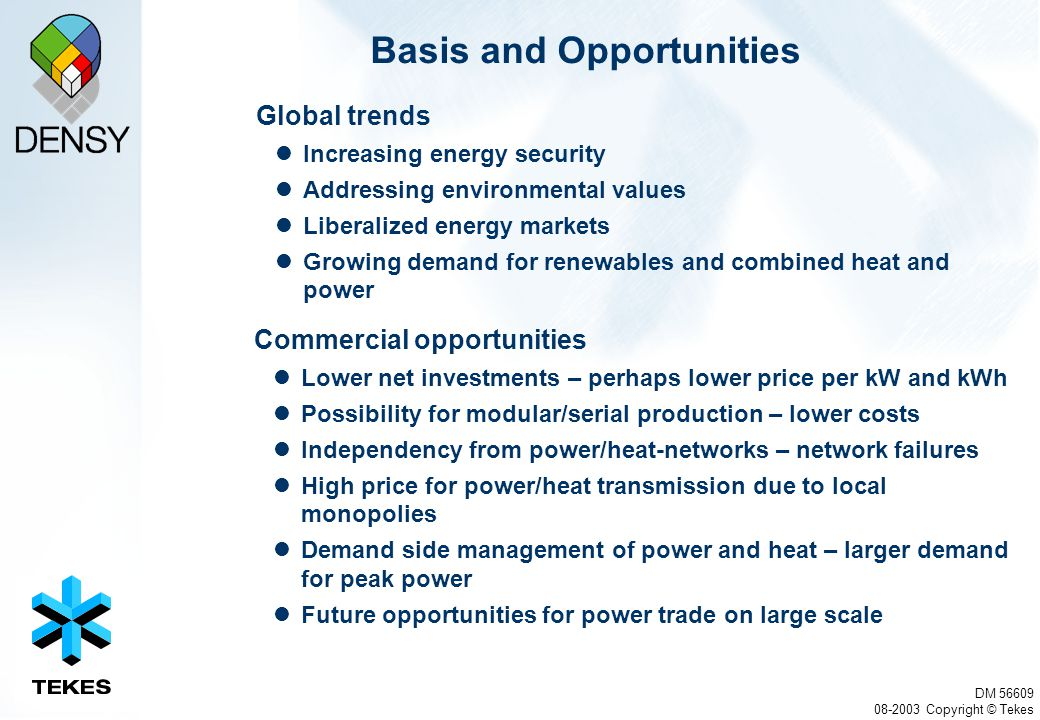 DM 56609 08-2003 Copyright © Tekes Basis and Opportunities Global trends Increasing energy security Addressing environmental values Liberalized energy