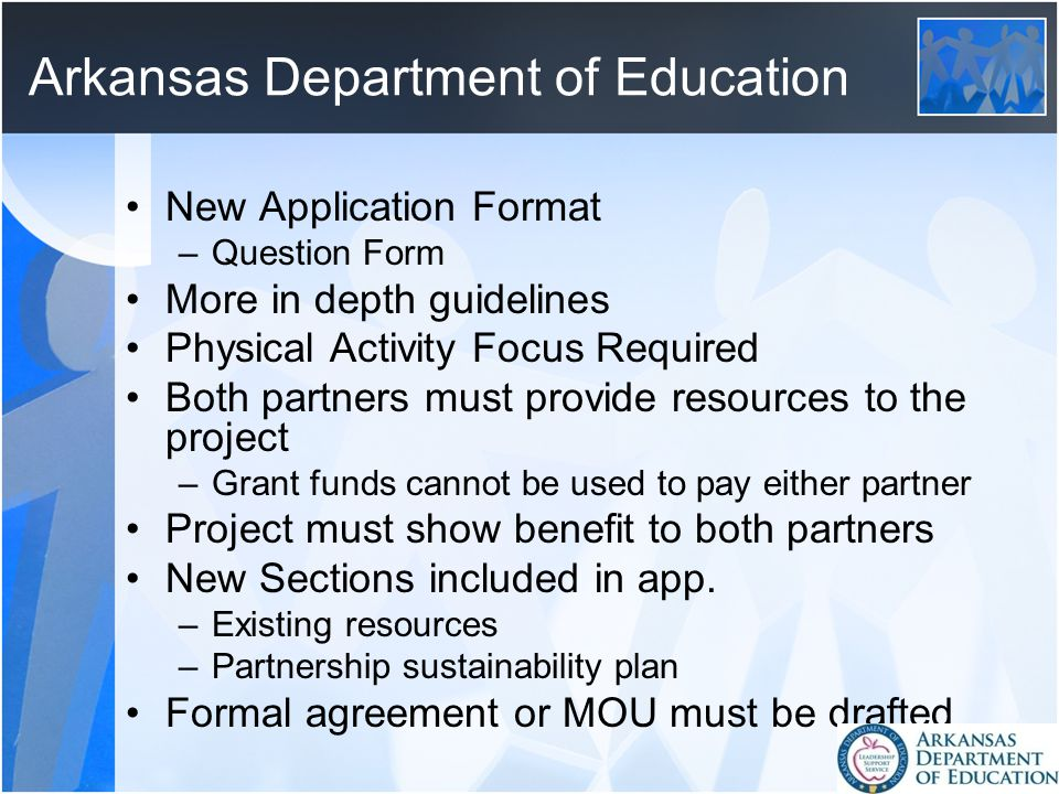 Arkansas Department of Education New Application Format –Question Form More in depth guidelines Physical Activity Focus Required Both partners must provide resources to the project –Grant funds cannot be used to pay either partner Project must show benefit to both partners New Sections included in app.