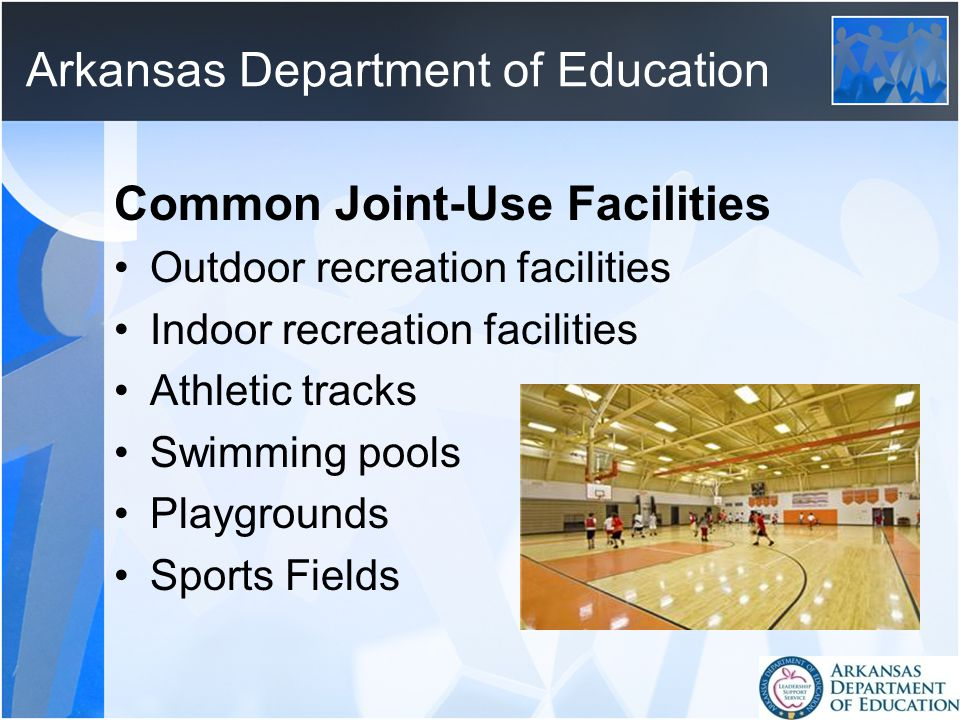 Arkansas Department of Education Common Joint-Use Facilities Outdoor recreation facilities Indoor recreation facilities Athletic tracks Swimming pools Playgrounds Sports Fields