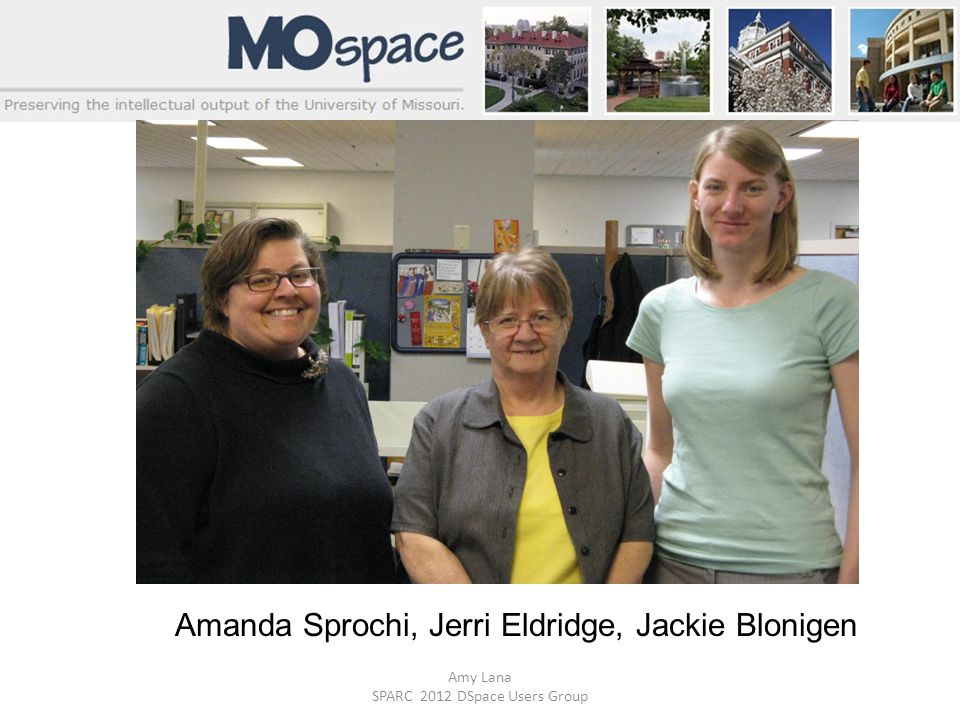 Amy Lana SPARC 2012 DSpace Users Group Amanda Sprochi, Jerri Eldridge, Jackie Blonigen