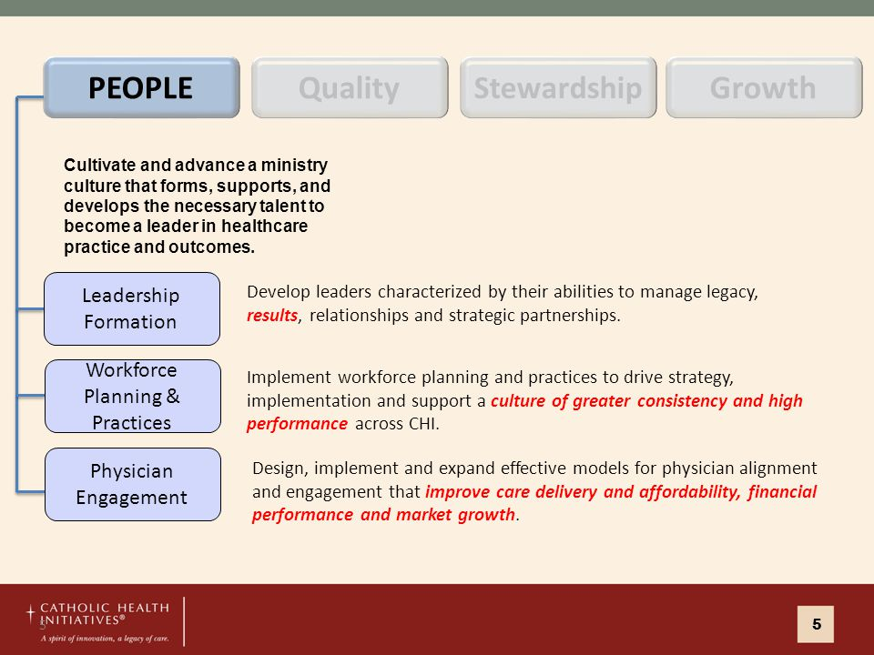 5 Develop leaders characterized by their abilities to manage legacy, results, relationships and strategic partnerships.