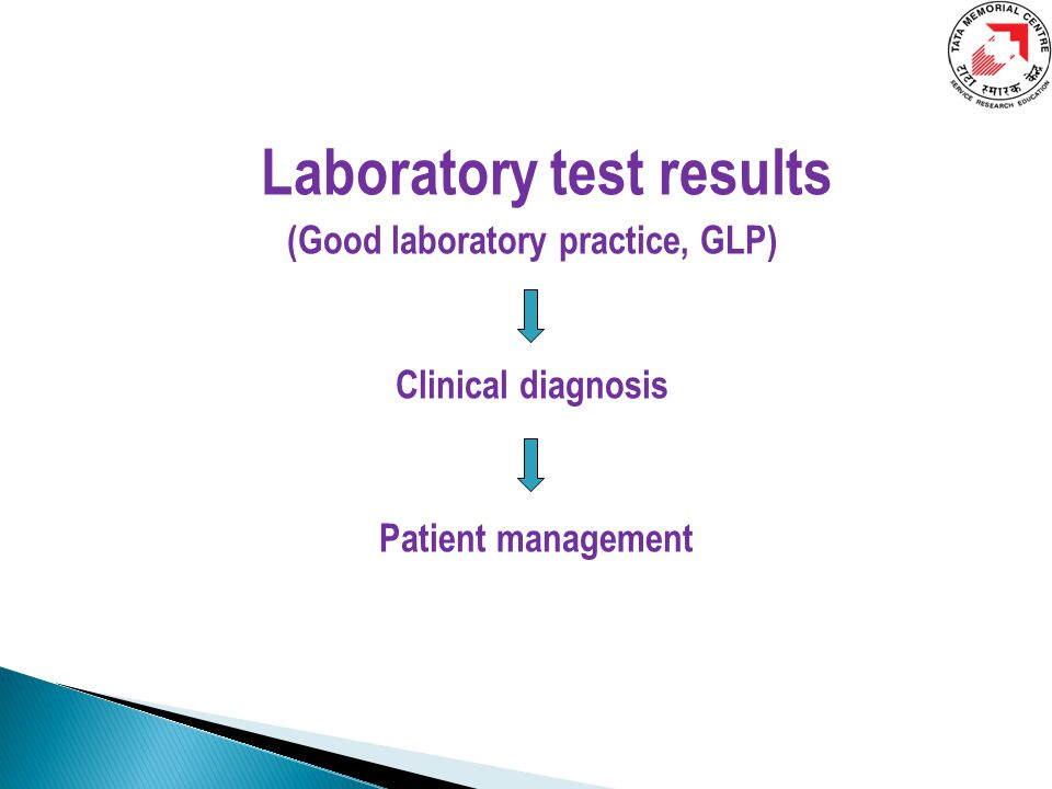 Laboratory test results (Good laboratory practice, GLP) Clinical diagnosis Patient management
