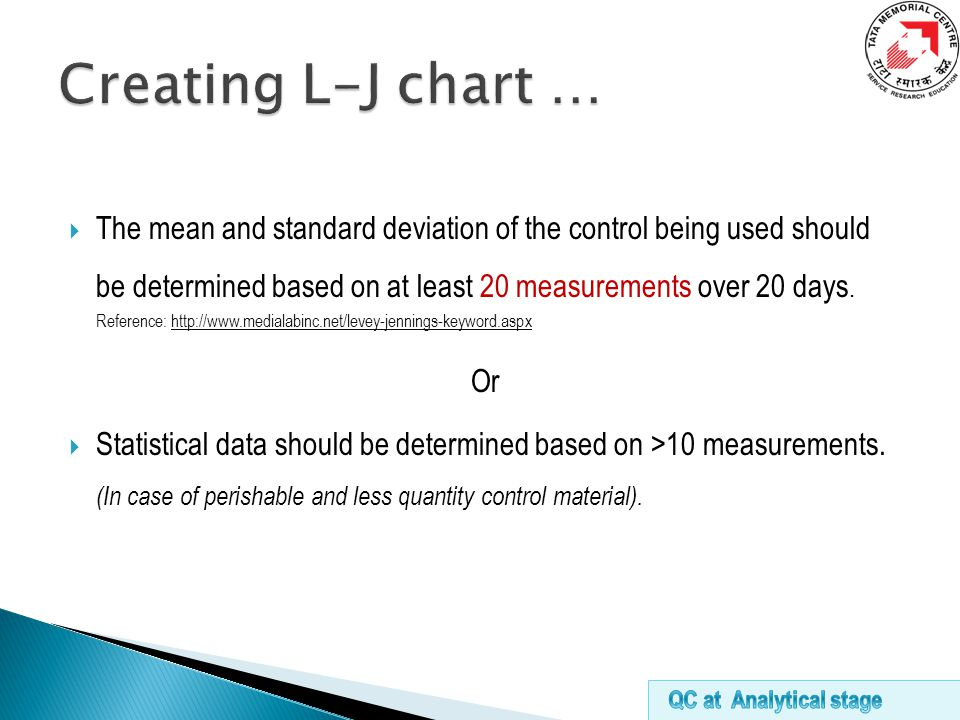  The mean and standard deviation of the control being used should be determined based on at least 20 measurements over 20 days.