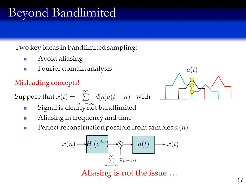17 Two key ideas in bandlimited sampling: Avoid aliasing Fourier domain analysis Beyond Bandlimited Misleading concepts.