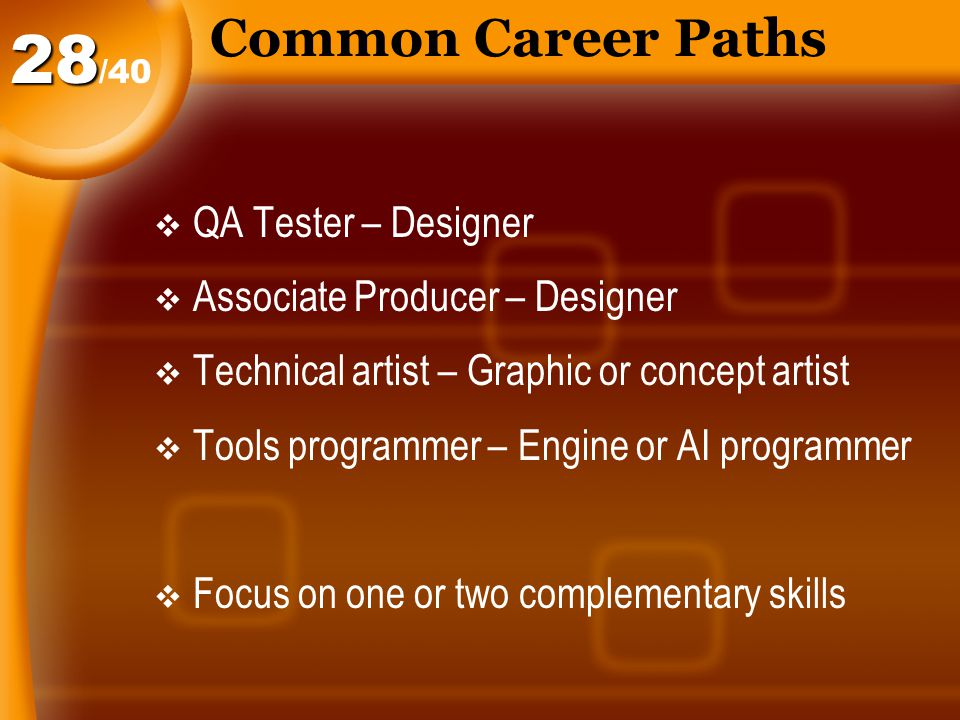 Common Career Paths  QA Tester – Designer  Associate Producer – Designer  Technical artist – Graphic or concept artist  Tools programmer – Engine or AI programmer  Focus on one or two complementary skills /4028