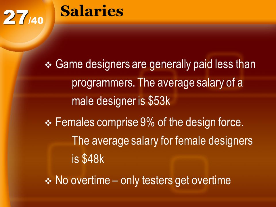 Salaries  Game designers are generally paid less than programmers.
