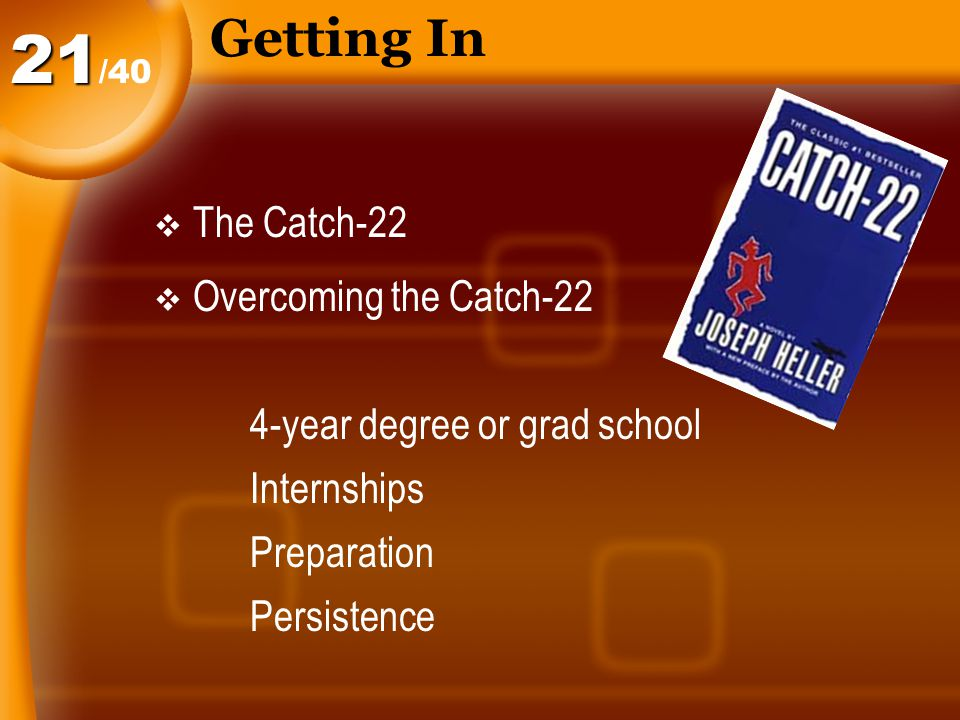 Getting In  The Catch-22  Overcoming the Catch-22 4-year degree or grad school Internships Preparation Persistence /4021