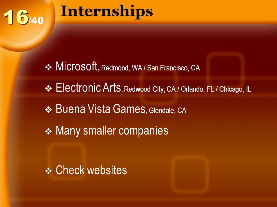 Internships  Microsoft, Redmond, WA / San Francisco, CA  Electronic Arts, Redwood City, CA / Orlando, FL / Chicago, IL  Buena Vista Games, Glendale, CA  Many smaller companies  Check websites /4016