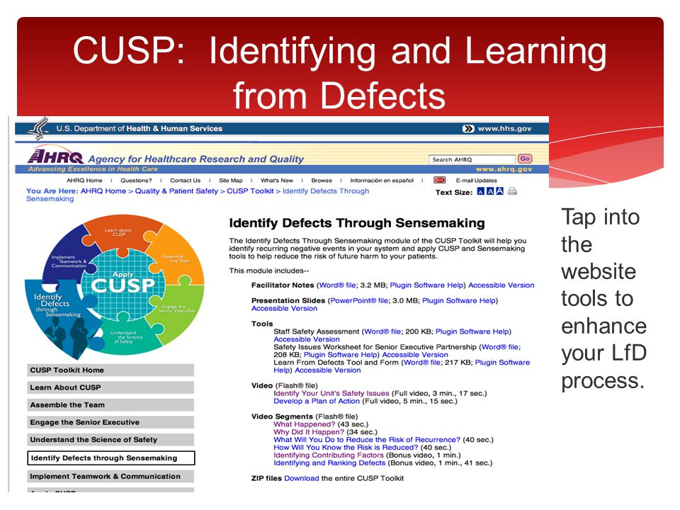 Tap into the website tools to enhance your LfD process. CUSP: Identifying and Learning from Defects