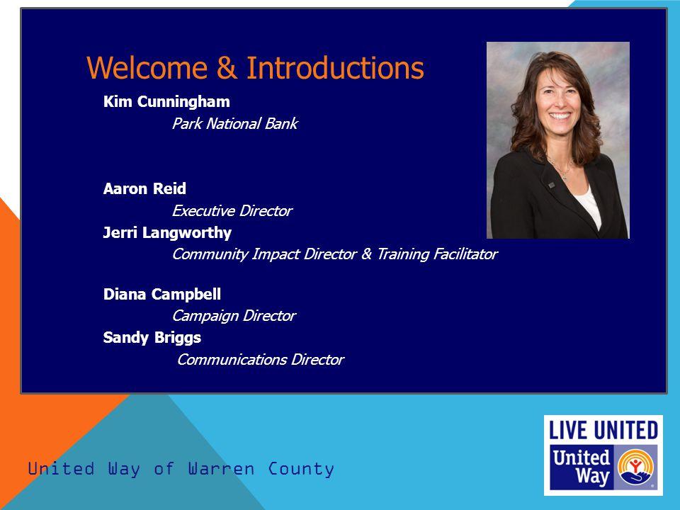 Welcome & Introductions Kim Cunningham Park National Bank Aaron Reid Executive Director Jerri Langworthy Community Impact Director & Training Facilita