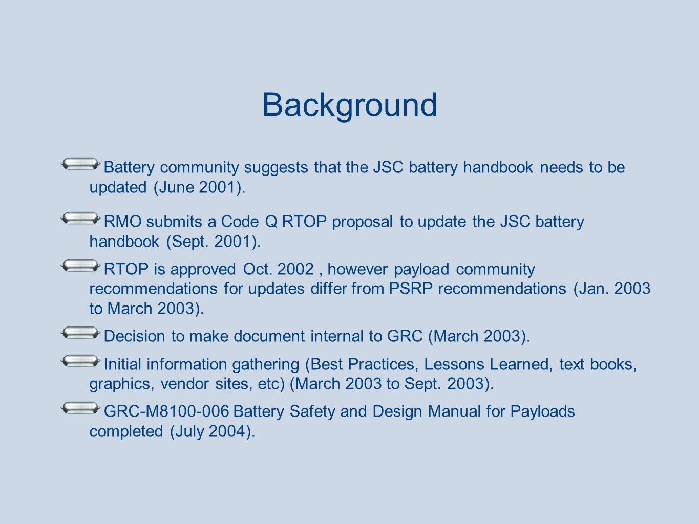 Battery community suggests that the JSC battery handbook needs to be updated (June 2001). RMO submits a Code Q RTOP proposal to update the JSC battery
