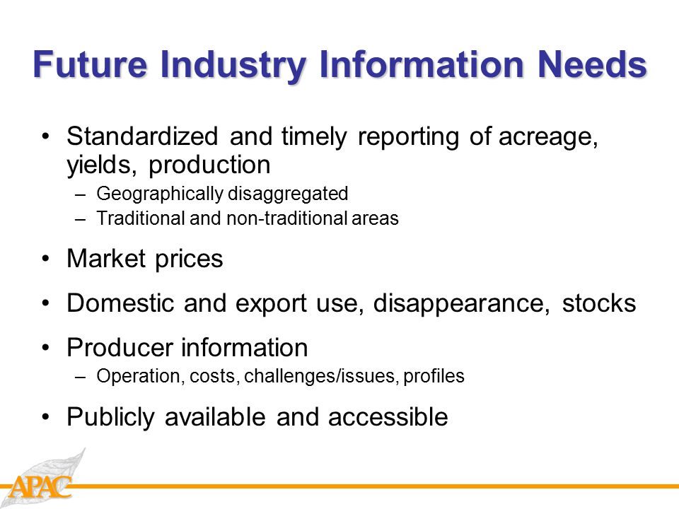CAAP Future Industry Information Needs Standardized and timely reporting of acreage, yields, production –Geographically disaggregated –Traditional and