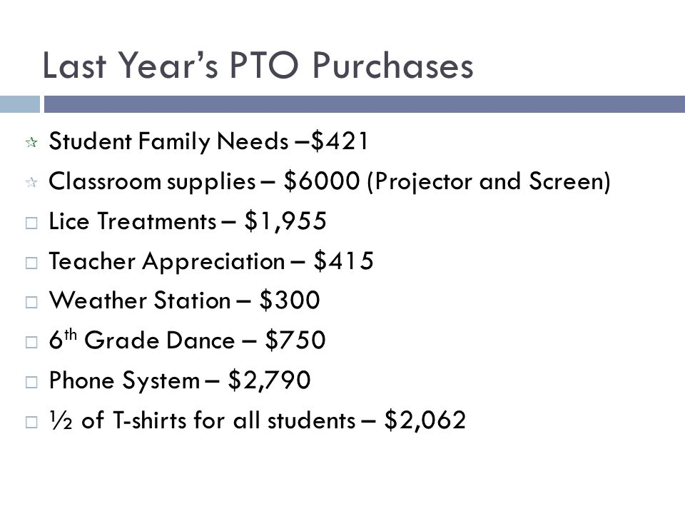 Last Year's PTO Purchases  Student Family Needs –$421  Classroom supplies – $6000 (Projector and Screen)  Lice Treatments – $1,955  Teacher Appreciation – $415  Weather Station – $300  6 th Grade Dance – $750  Phone System – $2,790  ½ of T-shirts for all students – $2,062